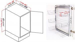 ابعاد سبد ریلی جا ادویه ای سه طبقه ریل پهلو فراسازان یونیت 30 سانت