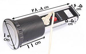ابعاد پریز توکار کابینت استوانه ای فانتونی مدل M071 سیلور