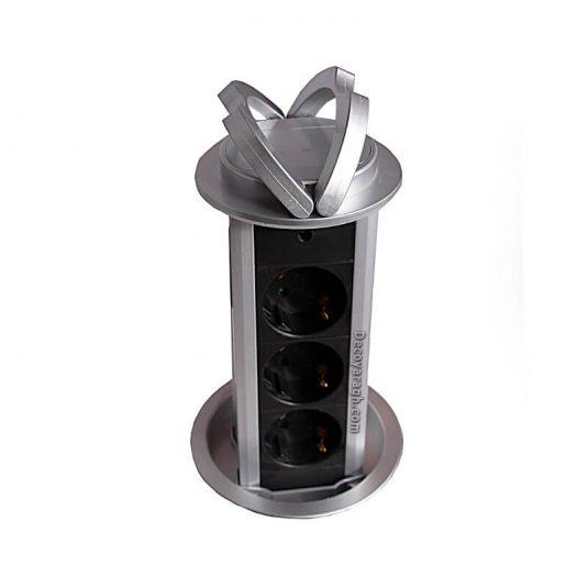 پریز توکار کابینت ملونی مدل الکترا ساده سیلور