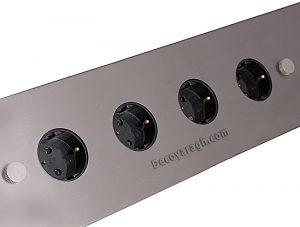 پریز روکار کابینت با چهار سوکت برق و سیلور رنگ