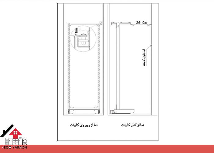 راهنمای نصب سبد سوپر یخچالی داخل کابینت