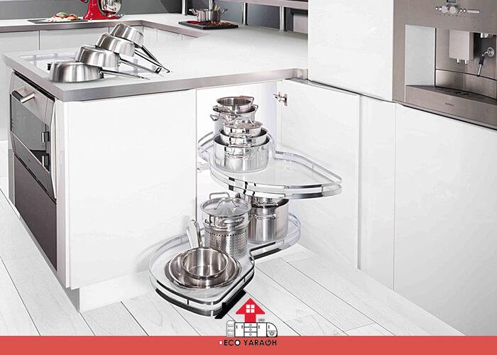 سبد های ریلی؛ مخصوص کابینت کنج آشپزخانه