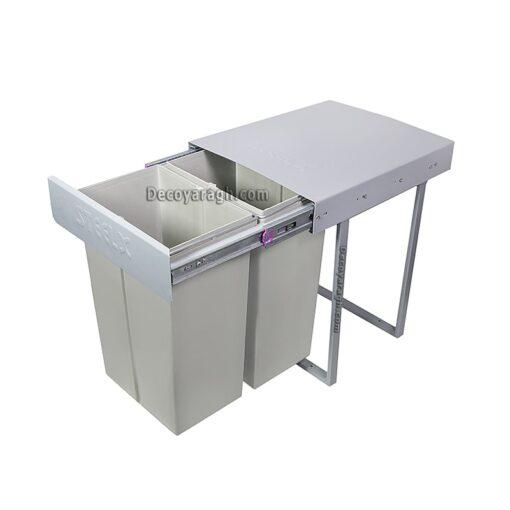 سطل زباله دوقلو کوچک استیل ایکس