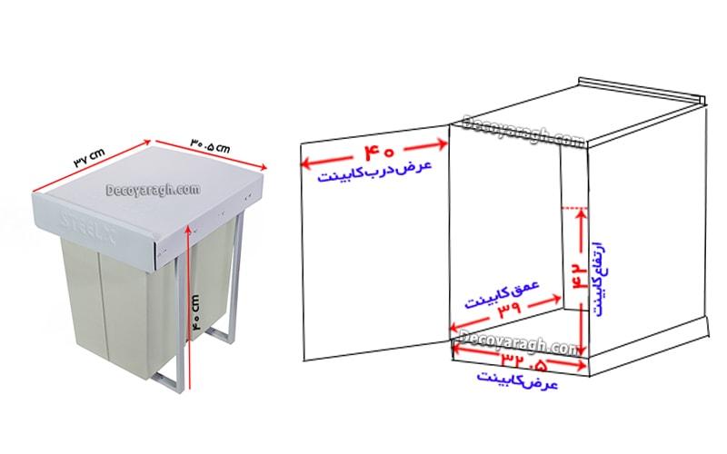 سایز سطل زباله و ابعاد کابینت محل نصب