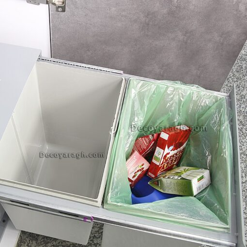 سطل زباله بزرگ دو مخزنه استیل ایکس