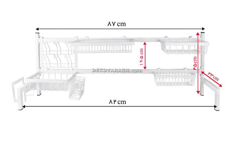 ابعاد و اندازه های به کار رفته در بدنه آبچکان Hamertools سفید