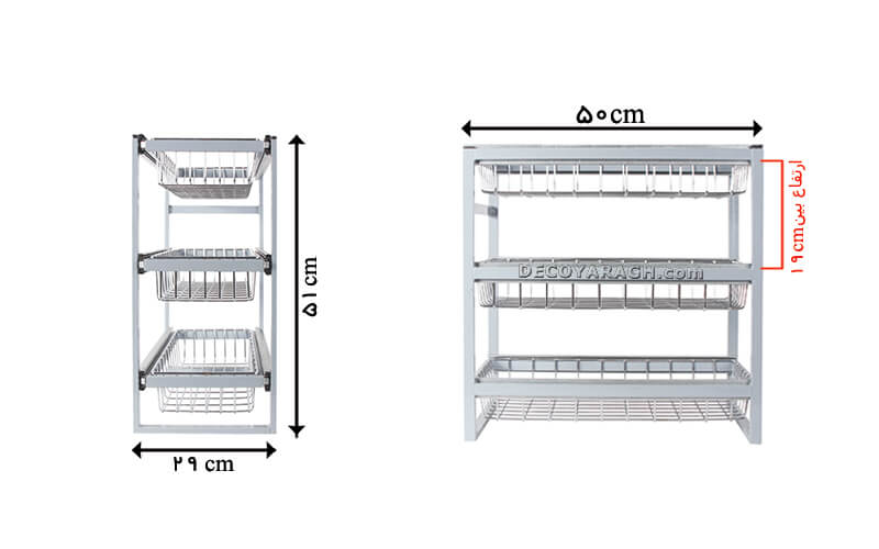 ابعاد سبد ریلی چند منظوره سه طبقه برای کابینت های باریک - دکویراق
