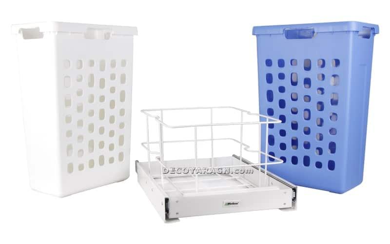 سبد رخت چرک مدل 9155 ملونی دارای دو سبد پلاستیکی با دو رنگ متفاوت است