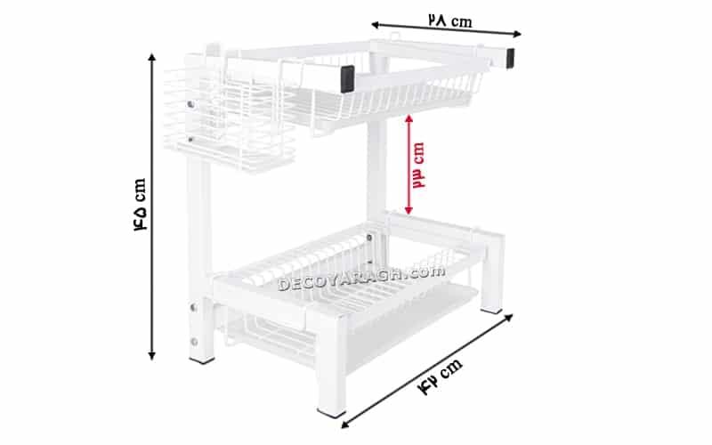 طول، عرض و ارتفاع دقیق سبد جاظرفی سفید روی کابینت چه اندازه است؟